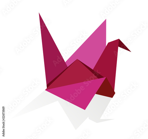 Foto op Canvas Geometrische dieren Vibrant colors Origami swan
