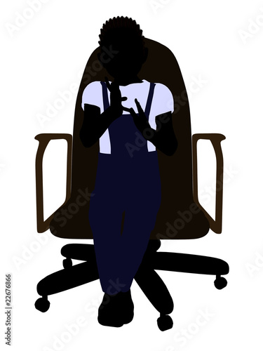 A Boy Sitting In A Chair Illustration Silhouette