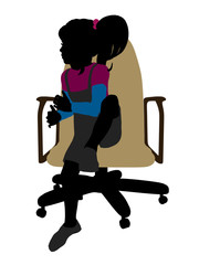 A Girl Sitting On A Chair Illustration Silhouette