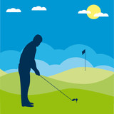 Golf players silhouette. Vector illustration