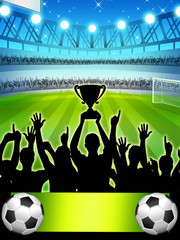 Football winners with trophy (set 2)