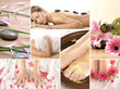 A collage of spa treatment images with different body parts