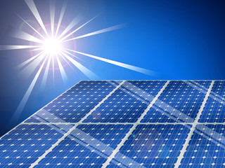 Solar panels with a bright shining sun on a blue sky