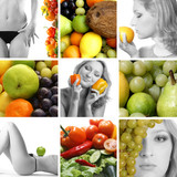 A collage of different nutrition and dieting images poster