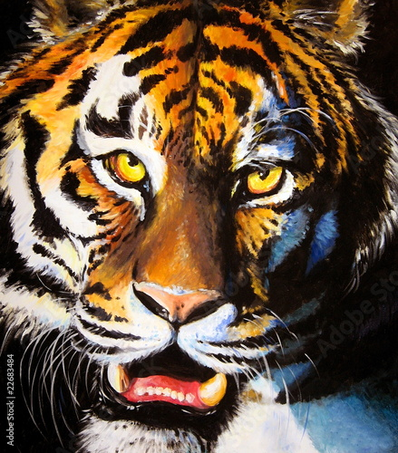 Tiger acrylic painted. - 22683484