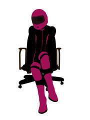 Female Sports Biker Sitting In A Chair Illustration Silhouette