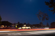 Leinwanddruck Bild - Fountain in Palos Verdes - Night time w/ Traffic