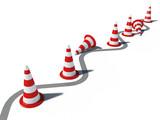 traffic cones wrong way 3d cg poster