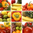A nutrition collage of healthy and tasty fruits and vegetables
