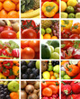 A nutrition collage with a lot of tasty fruits and vegetables