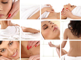 A collage of images with women on beauty treatment procedures