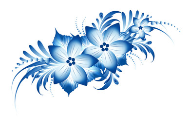 Gzhel flowers