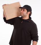 Man carrying a parcel poster