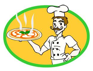 Cuoco con pizza