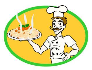 Chef con spaghetti