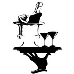 champagne arrives vector illustration