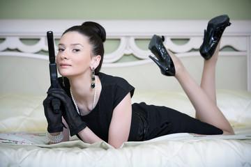 retro style woman with a gun