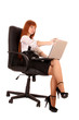 businesswoman in chair with laptop    on white background