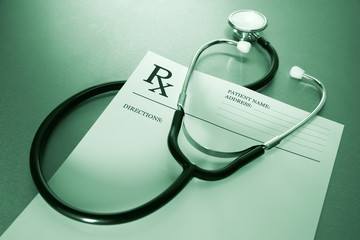 RX prescription form and stethoscope