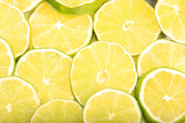 Close-up of sliced limes