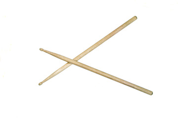 Two drumsticks isolated over white with clipping path