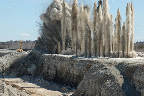 canvas print picture Blast in open cast mining quarry