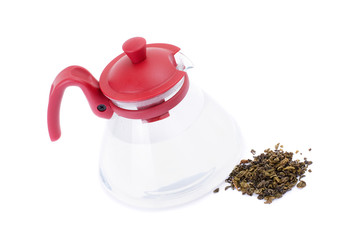 glass teapot isolated on a white background