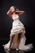 Короткое свадебное платье с длинным шлейфом, р.44-46, накидка, р.44-46...