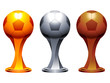 Golden, silver and bronze soccer trophy cups.