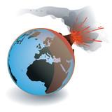 Volcan en fusion sur la Terre, vecteur poster