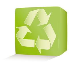 Vector illustration green environmental cube on white