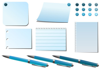 blue  pins and pens