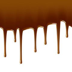 Milk chocolate drips. Seamless vector.