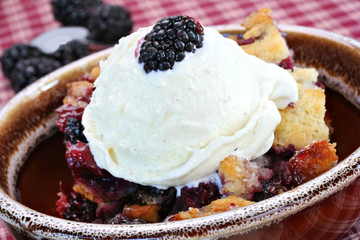 Berry Cobbler with Ice Cream