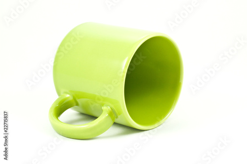 green tea cup isolated on white background