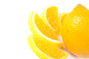 Jelly candies and fresh citrus