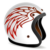 vintage race helmet with fire wings on the side
