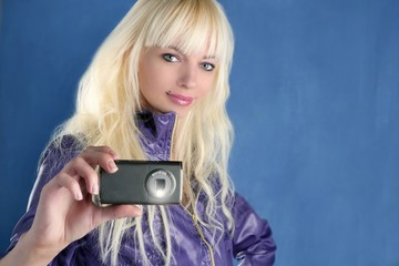 fashion blonde girl photo camera mobile phone blue