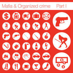 PrintOrganized crime icon set vector of 33 buttons