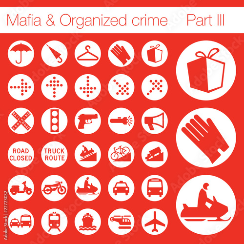 Organized crime icon set vector of 33 buttons