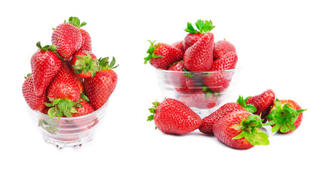 collection of red strawberry isolated on white background.
