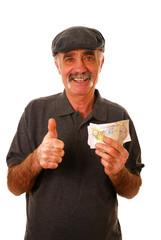 Man holding ten pound notes