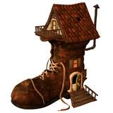 altes Haus mit Treppe