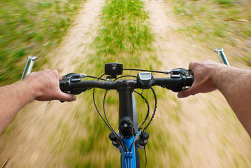 mounting biking on the dirt road