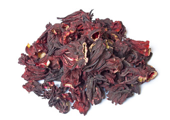 Pile of Hibiscus tea isolated on white