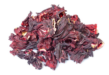 Pile of Hibiscus tea isolated on wite