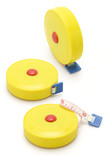 Three yellow measuring tapes