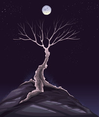 Landscape with tree in the night. Vector illustration.