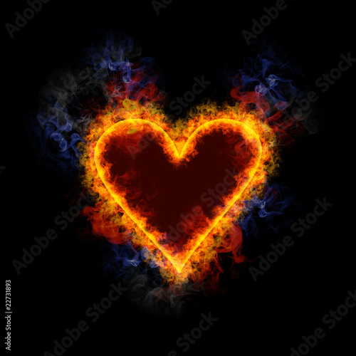 Fiery card symbol heart.