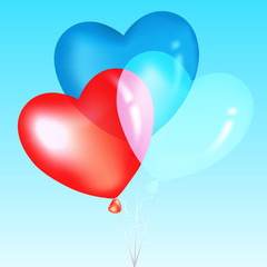 Colorful Heart Shape Balloons, Blue, Red And White